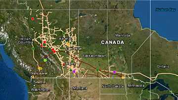 Map of Canada showing pipeline locations and data that we have been collecting on incidents since 2008