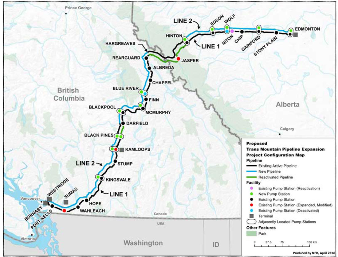 Figure 1: Trans Mountain Pipelines ULC – Proposed Trans Mountain Pipeline Expansion Project Configuration Map