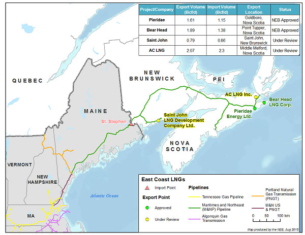 The map shows the four proposed LNG export projects from the east coast of Canada, and the Maritimes and Northeast Pipeline system. It includes a chart displaying the applied-for and approved import and export licence volumes, exports points and status of each application filed with the Board.