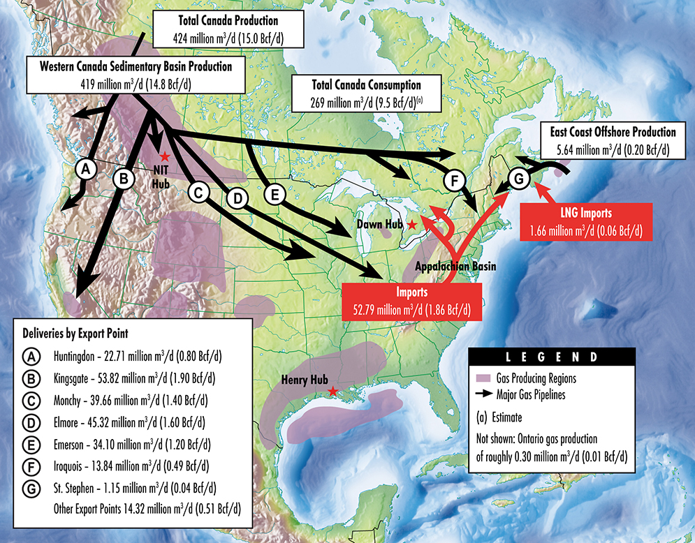 This map provides an overview of the supply and disposition of Canadian natural gas in 2015