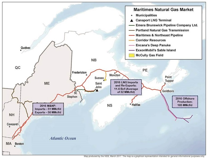 This map illustrates natural gas trade in the Maritimes. Included are the Maritimes & Northeast Pipeline (M&NP), offshore production pipelines from the Sable and Deep Panuke platforms, the McCully field, and the Emera Brunswick pipeline that transports natural gas from the Canaport LNG terminal in Saint John, New Brunswick.