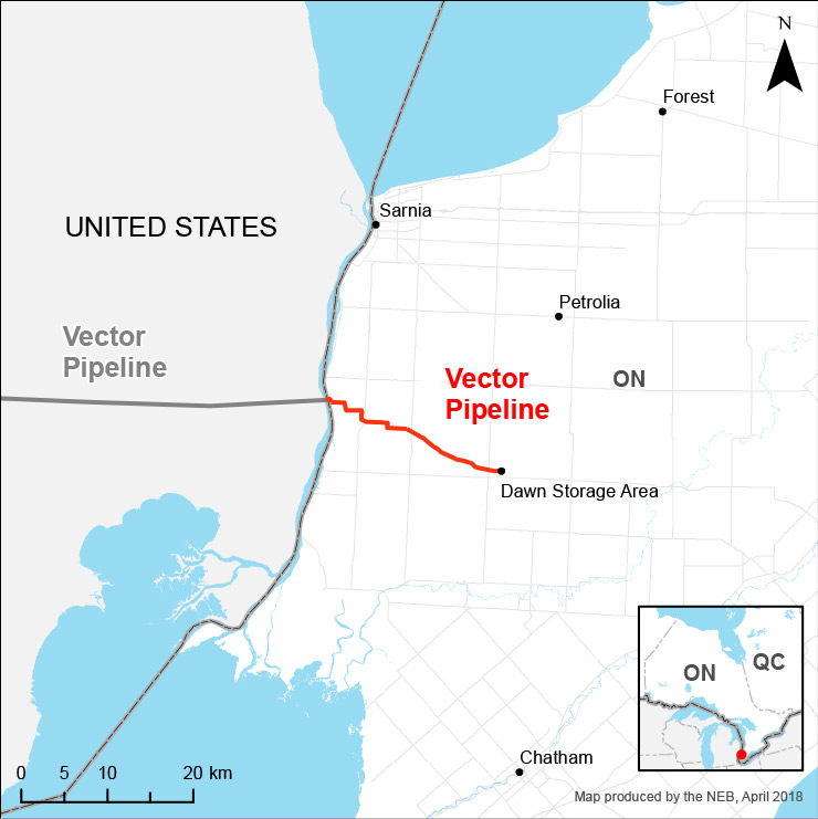 Vector pipeline system map