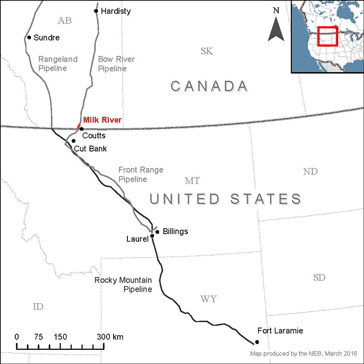 Milk River pipeline system map