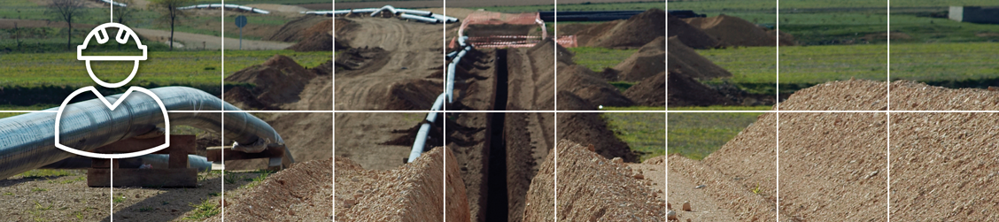 Banner with white intersecting lines and icon showing a dug trench ready for the installation of pipelines