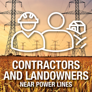 Icon over top of an image depicting golden wheat field and power lines – Contractors and landowners near power lines