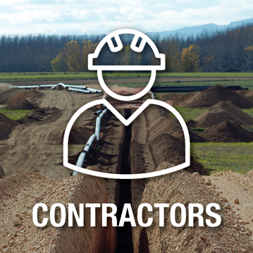 Contractors icon over top of an image depicting a dug trench ready for the installation of pipelines – Constractors