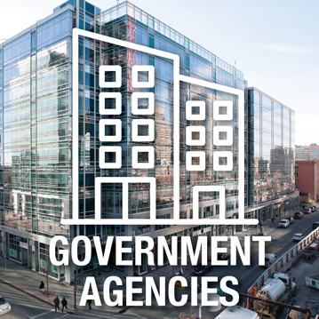Government Agencies icon over top of an image depicting CER headquarters in Calgary, AB, Canada – Government agencies