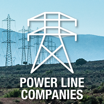 Power line icon over top of an image depicting power lines – Power line companies
