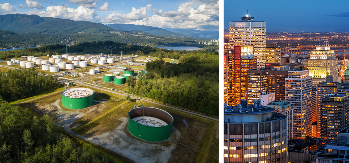 On the left: Aerial view of Oil Refinery in in Port Moody, Vancouver, BC, Canada and on the right: Montreal At Dusk with lights lit